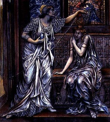 Finished study for Queen Eleanor and Fair Rosamund, c.1900-5 Poster Art Print by Evelyn De Morgan