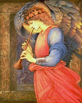 Fine Art Print of An Angel Playing a Flageolet, 1878 by Sir Edward Burne-Jones
