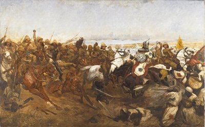 Fine Art Print of The Charge of the 21st Lancers at the Battle of Omdurman, 1898 by Richard Caton Woodville