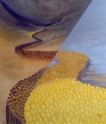 God's Holy People stretch like a river from ancient times to our own day, 1995 (oil on panel) by Elizabeth Wang - print