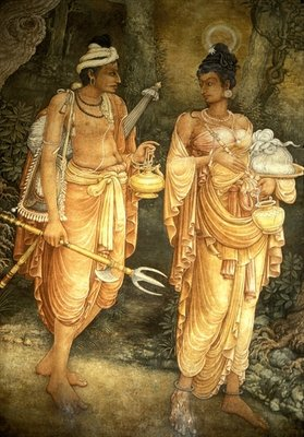 Fine Art Print of Danta and Hemamala transporting the Sacred Tooth Relic by Sri Lankan School