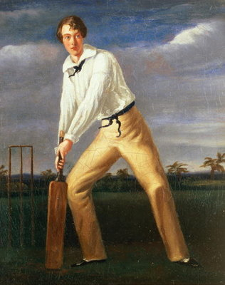 Fine Art Print of Portrait of a Young Cricketer, c.1816 by English School