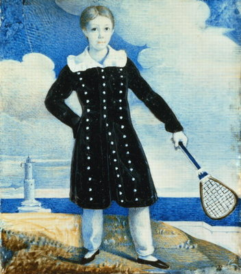 Fine Art Print of Boy with Badminton Racket by English School