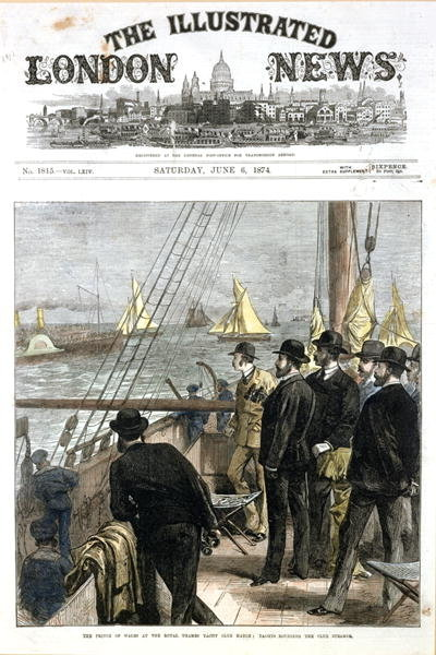 Fine Art Print of The Prince of Wales at the Royal Thames Yacht Club match, yachts rounding the club steamer, front cover from 'The Illustrated London News', pub. June 6th 1874 by English School