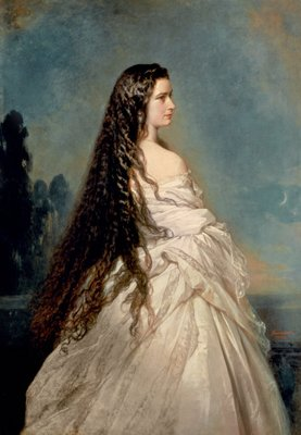 Elizabeth of Bavaria (1837-98), wife of Emperor Franz Joseph I of Austria (1830-1916) (oil on canvas) by Franz Xaver Winterhalter - print