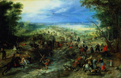 Raid on a caravan of wagons, 1612 Poster Art Print by Jan Brueghel