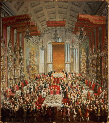 Fine Art Print of Coronation Banquet of Joseph II in Frankfurt, 1764 by Martin II Mytens or Meytens