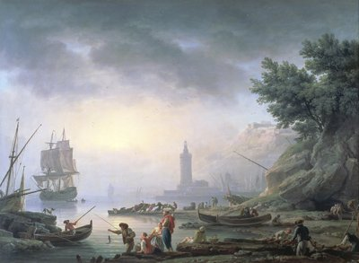 Seaport at Dawn, 1751 by Claude Joseph Vernet - print