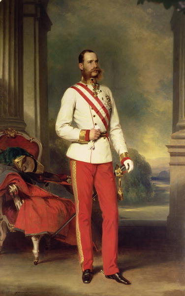 Franz Joseph I, Emperor of Austria (1830-1916) wearing the dress uniform of an Austrian Field Marshal with the Great Star of the Military Order of Maria Theresa, 1864 by Franz Xaver Winterhalter - print