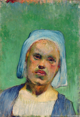 Head of a Breton (oil on canvas) by Paul Gauguin - print
