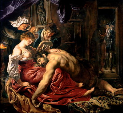Samson and Delilah, c.1609 (oil on panel) by Peter Paul Rubens - print