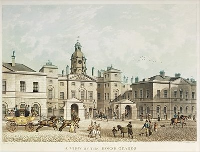 A view of the Horse Guards from Whitehall engraved by J.C Sadler Poster Art Print by Thomas Hosmer Shepherd
