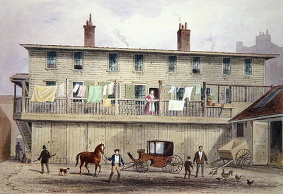 Fine Art Print of The Old Vine Inn, Aldersgate Street, 1855 by Thomas Hosmer Shepherd