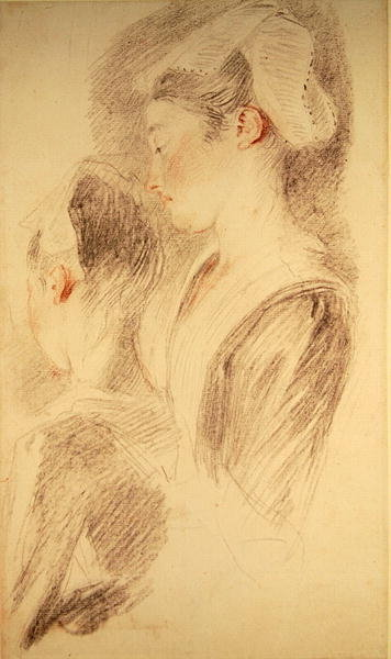 Two studies of a woman, three-quarters from rear, one in profile Poster Art Print by Jean Antoine Watteau