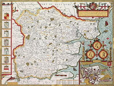 Essex, engraved by Jodocus Hondius Poster Art Print by John Speed