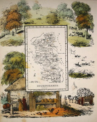 Fine Art Print of Map of Buckinghamshire by English School