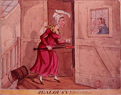 Jealousy! (colour engraving) by English School - print