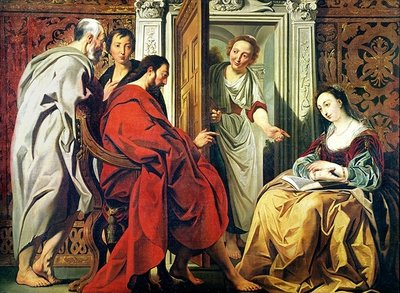 Fine Art Print of Christ at the House of Martha and Mary of Bethany by Jacob Jordaens