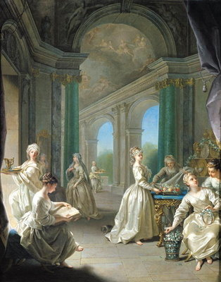 Modern Virgins, 1728 (oil on canvas) by Jean Raoux - print