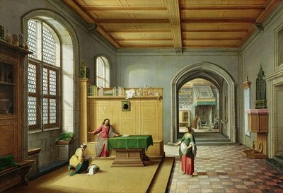 Christ in the House of Martha and Mary (oil on canvas) by Hendrik van Steenwyk - print