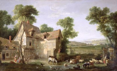 The Farm, 1750 (oil on canvas) by Jean-Baptiste Oudry - print