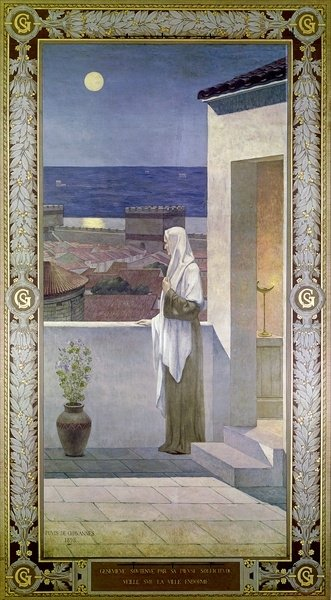 Fine Art Print of St. Genevieve Watches Over the Sleeping City of Paris, 1898 by Pierre Puvis de Chavannes