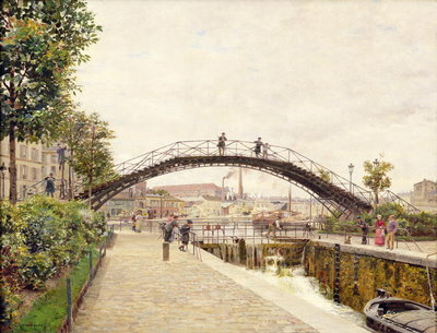 The Saint-Martin Canal (oil on canvas) by Marie Francois Firmin-Girard - print