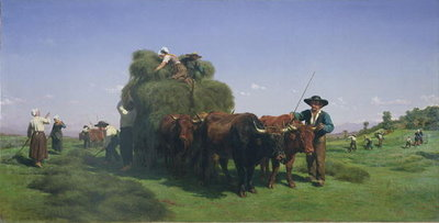 Haymaking, Auvergne (oil on canvas) by Rosa Bonheur - print