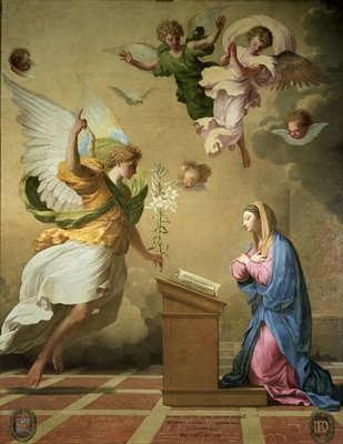 The Annunciation, before 1652 (oil on canvas) by Eustache Le Sueur - print
