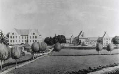 View of the Two Mills of Angecourt, founded in 1812 by Baron Neuflize (w/c on paper) (b/w photo) by P. Dujardin - print