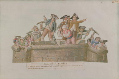 Fine Art Print of The Demolition of the Bastille, July 1789 by Lesueur Brothers