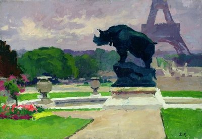Fine Art Print of The Trocadero Gardens and the Rhinoceros by Jacquemart by Jules Ernest Renoux