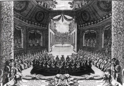 Concert in the garden of Trianon, 2nd day of celebrations at Versailles, 14th July 1668', 1675 (engraving) (b/w photo) by Francois Chauveau - print