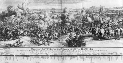 The Battle of Ramillies, 23rd May 1706 (engraving) (b/w photo) by French School - print