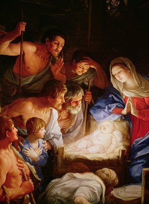 The Adoration of the Shepherds, detail of the group surrounding Jesus Poster Art Print by Guido Reni
