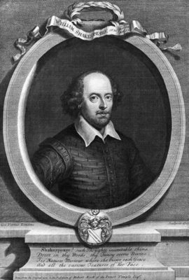 Portrait of William Shakespeare (1564-1616) 1719 (engraving) (b/w photo) by George Vertue - print