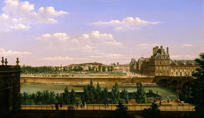 Fine Art Print of View of the Gardens and Palace of the Tuileries from the Quai d'Orsay, 1813 by Etienne Bouhot