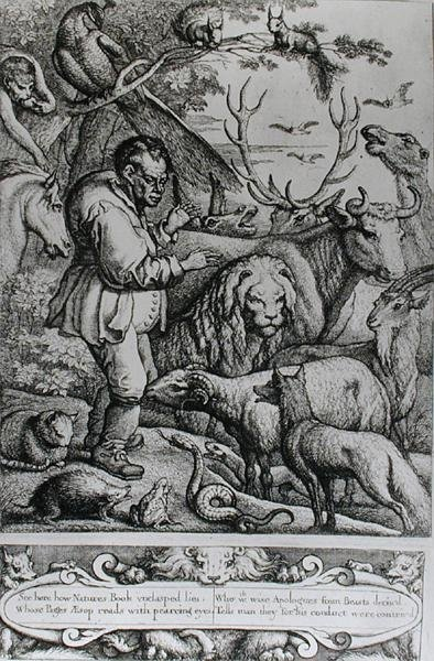 Illustration from the Introduction to Aesop's Fables, 1666 (engraving) (b/w photo) by Francis Barlow - print