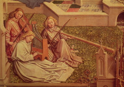 The Fountain of Grace, detail of three angel musicians Poster Art Print by Jan van Eyck