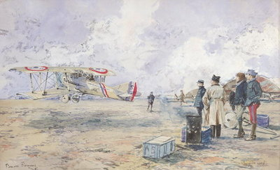 Fine Art Print of An Aeroplane Taking Off, 1913 by Francois Flameng