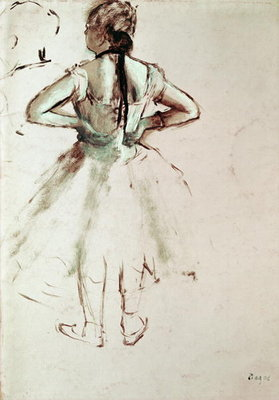 Fine Art Print of Dancer viewed from the back by Edgar Degas