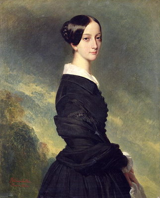 Portrait of Francisca Caroline de Braganca (1824-98) 1844 (oil on canvas) by Franz Xaver Winterhalter - print