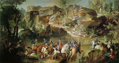 Hunting in the Forest of Fontainebleau at Franchard Poster Art Print by Jean-Baptiste Oudry