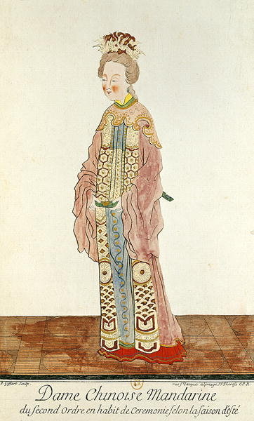 Portrait of a Mandarin Woman of the Second Order Wearing a Summer Ceremonial Costume, from 'Estat Present de la Chine' by Pere Bouvet, 1647 (coloured engraving) by Pierre Giffart - print