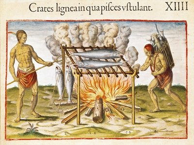 Cooking Fish, from 'Admiranda Narratio...', engraved by Theodore de Bry (1528-98) 1585-88 (coloured engraving) by John White - print