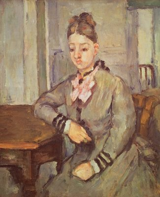 Madame Cezanne Leaning on a Table, 1873-77 (oil on canvas) by Paul Cezanne - print
