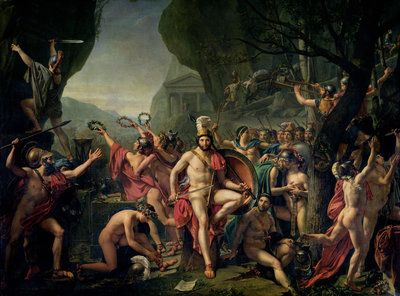 Leonidas at Thermopylae, 480 BC, 1814 (oil on canvas) by Jacques Louis David - print
