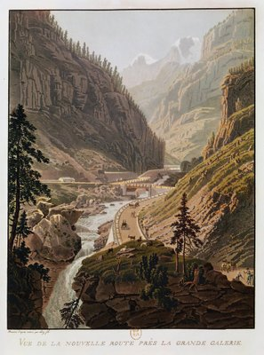 Fine Art Print of View of the New Simplon Pass, 1811 by Mathias Gabriel Lory