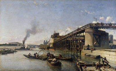 Fine Art Print of View of Paris, the Seine or l'Estacade, 1853 by Johan-Barthold Jongkind