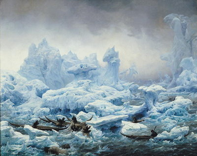 Fine Art Print of Fishing for Walrus in the Arctic Ocean, 1841 by Francois Auguste Biard
